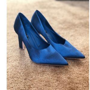 Zara blue satin pumps
